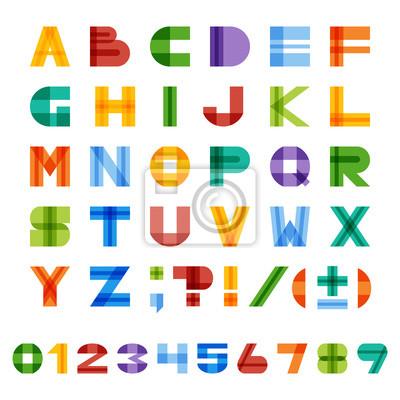 Geometrisches halb-transparentes quadratisches buntes englisches Alphabet von A bis Z, Zahlen und Satzzeichen. Vektor EPS10