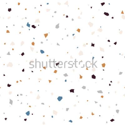 Fototapete Geometrisches modernes abstraktes Muster der Terrazzo-Bodenbelagsoberfläche. Vector nahtlose abstrakte Wiederholung mit Chips des Marmors oder des Granits in den weichen Pastellfarben.