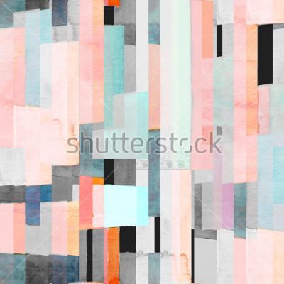 Fototapete Geometrisches nahtloses Muster mit Mehrfarbenstreifen und Teal. Trendy abstrakten Hintergrund.