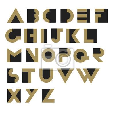 Geometrisches Retro Alphabet. Art Deco-Stil. Typ, Schriftart, Jahrgang v