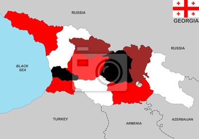 Georgien Karte.Fototapete Georgien Karte