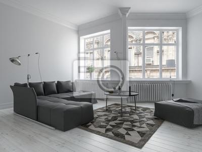 Geräumiges zimmer im minimalistischen interieur fototapete ...
