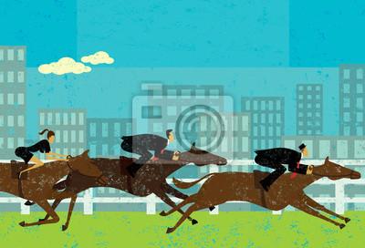 Geschäftsleute, die Pferderennen