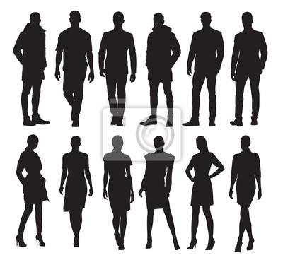 Fototapete Geschäftsleute und Frauen in den verschiedenen Haltungen, Satz Vektorschattenbilder. Erwachsene Leute im Gesellschaftskleid bei der Arbeit
