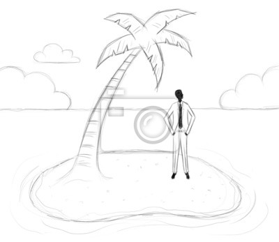 Geschäftsmann auf einer Insel gestrandet