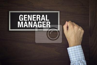 Fototapete Geschäftsmann ist auf General Manager Tür klopft