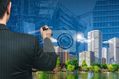 Geschäftsmann Oder Architektur Die Das Grüne Stadt Gute