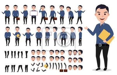 Fototapete Geschäftsmann oder männliche Vektor Zeichen Schöpfung gesetzt. Professionelle Mann hält Ordner mit Posen, Gesten und Emotionen isoliert in weiß. Vektor-Illustration.