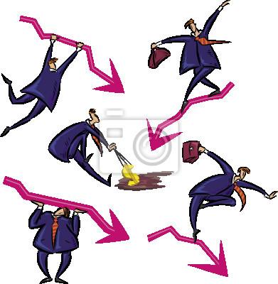 Geschäftsmann und Finanzkrise. Vektor-Illustration