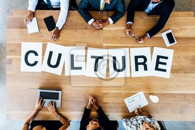 Fototapete Geschäftstreffen mit Wort Kultur auf dem Tisch