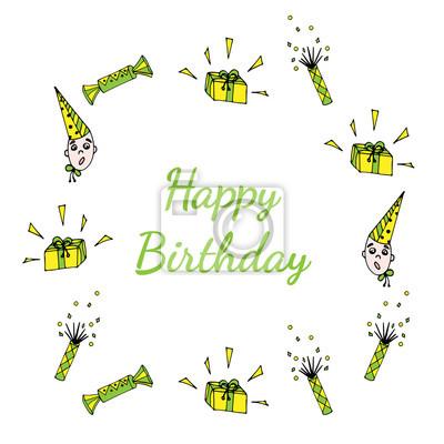Geschenk Alles Gute Zum Geburtstag Grusskarte Mit Rahmen Sussigkeiten