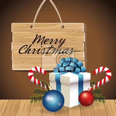 Frohe Weihnachten Band.Fototapete Geschenk Blauen Band Kugel Süßigkeiten Holz Label Dekoration