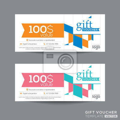 Geschenk-gutschein coupon-vorlage mit bunten viereck muster ...