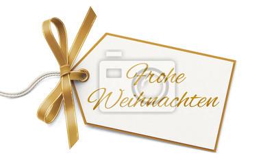 Geschenkanhänger Frohe Weihnachten.Fototapete Geschenkanhänger Und Goldene Schleife Frohe Weihnachten