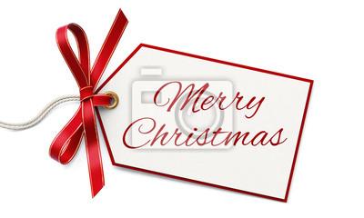 Geschenkanhänger Frohe Weihnachten.Fototapete Geschenkanhänger Und Rote Schleife Frohe Weihnachten