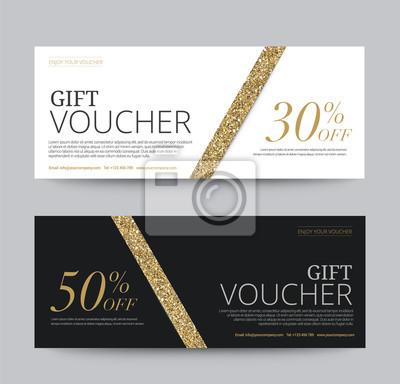 Geschenkgutschein vorlage, band gold glitzer, vektor-illustration ...