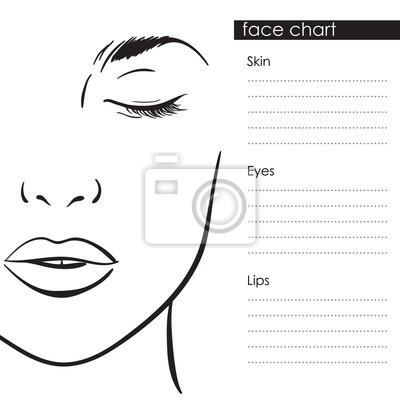 Fototapete Gesichtsdiagramm Maskenbildner Blank Template Vektor