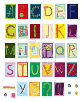 gestickten Buchstaben, Textil