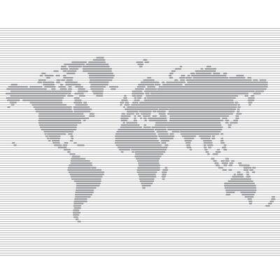 Fototapete gestreiften Linie Weltkarte Vektor-Vorlage