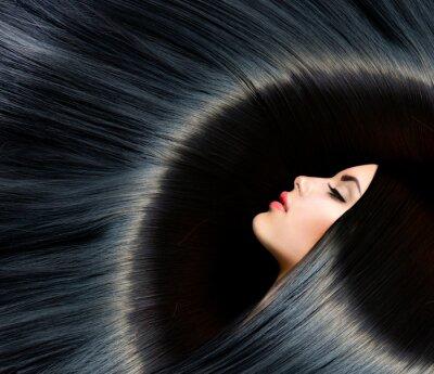 Fototapete Gesunde langen schwarzen Haaren. SchönheitBrunettefrau