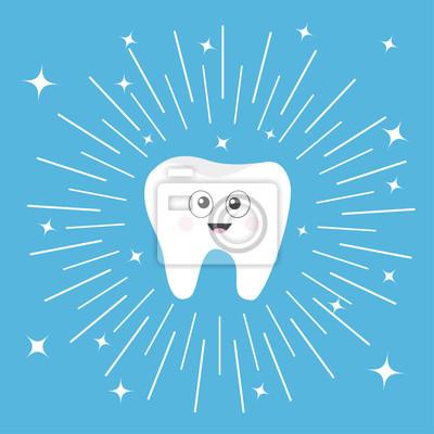Gesunde Zahn Symbol Mit Lächelnden Gesicht Und Große Augen Netter