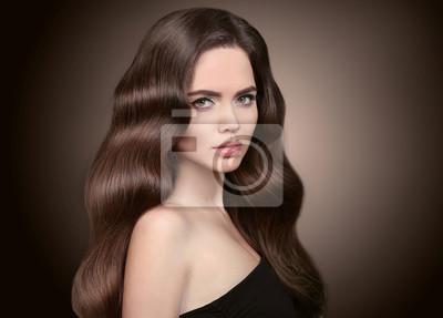 Gesundes Haar Schönes Brunette Mädchen Porträt Gesunde Lange