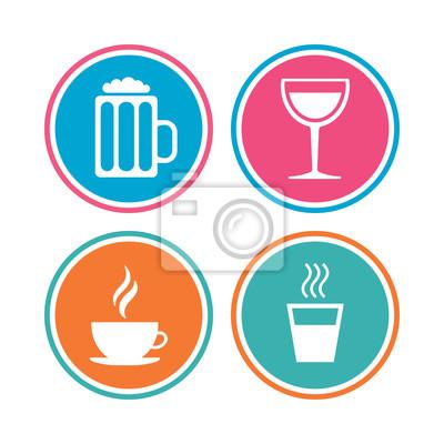 Getränke Symbole. Kaffeetasse Und Glas Bier Symbole