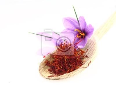 Getrocknete Gewürze und Safran Safranblumen