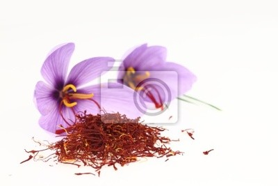 Getrocknete Safran Gewürz und Safranblumen