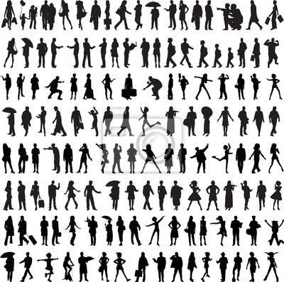 Fototapete Gewöhnliche Leute Silhouette
