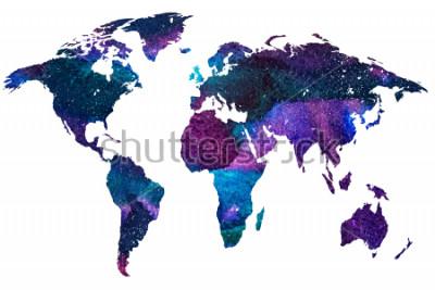 Fototapete Gezeichnete Illustration 2d der Weltkarte. Farbe gradiented Aquarellbild des getrennten Erdplaneten. Bunte Kontinente. Weißer Hintergrund.