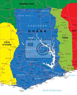 Ghana Karte.Fototapete Ghana Karte