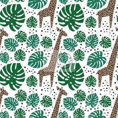 Fototapete Giraffen, Palmblätter und Punkte nahtlose Muster auf weißem Hintergrund. Dschungel Tiere mit tropischen Pflanzen drucken. Fashion Safari Design für Textil, Tapeten, Stoff.