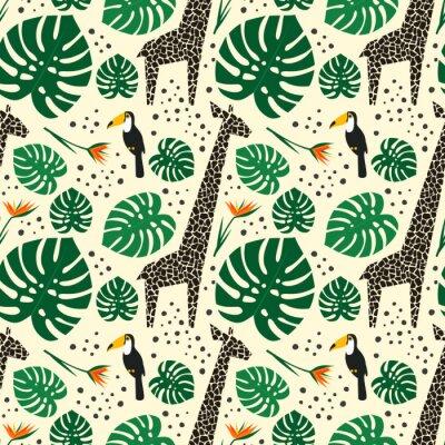 Fototapete Giraffen, Tukane und Palmblätter nahtlose Muster auf weißem Hintergrund. Dschungel Tiere mit tropischen Pflanzen drucken. Fashion Safari Design für Textil, Tapeten, Stoff.