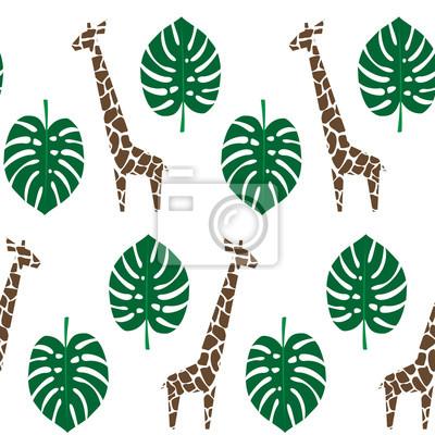 Fototapete Giraffen und Palmblätter nahtlose Muster auf weißem Hintergrund. Dschungel Tiere mit tropischen Pflanzen drucken. Fashion Safari Design für Textil, Tapeten, Stoff.