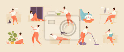 Fototapete Girl character spends time at home. Home life and leisure set. Vector flat illustration