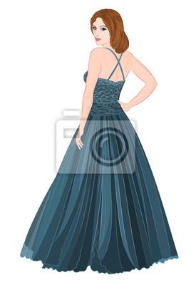 Girl figure in dark blue long dress