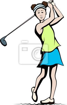 Girl Golfer After Swing