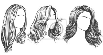 Fototapete girl set, beautiful woman face, girl with beautiful hair hand drawn vector illustration sketch