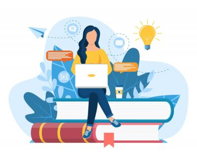 Fototapete Girl sitting on pile of books. Concept illustration of online courses, distance studying, self education, digital library. E-learning banner. Online education. Vector illustration in flat style