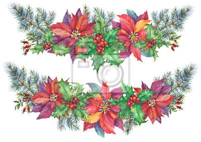 Weihnachtsbaum Girlande.Fototapete Girlande Mit Weihnachtsbaum Stechpalme Weihnachtsstern Winterurlaub