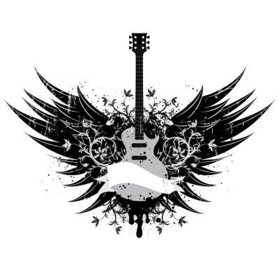 Gitarre Wings Insignia ..American Wahlknöpfe über Streifen und einem beunruhigten Hintergrund.