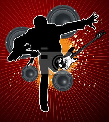 Gitarrenspieler mit Lautsprecher und Bass auf rotem Hintergrund