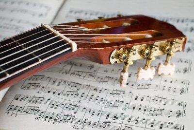 Fototapete Gitarrenspindelstock auf Musikanmerkungen