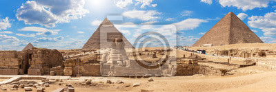 Fototapete Giza Pyramids and the Sphinx, beautiful Egyptian panorama