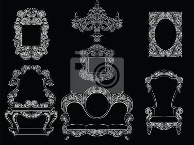 Glamorous rich barock rokoko möbel gesetzt. französisch luxusreiche ...