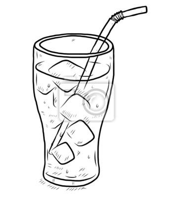 Fototapete Glas kühles Wasser mit Eis und Trinkhalm
