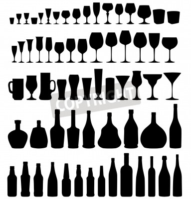 Fototapete Glass and bottle vector silhouette collection  Set of different drinks and bottles isolated on white background