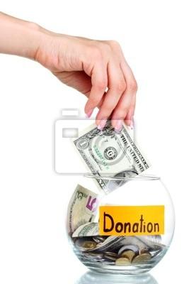 Glass Bank für Tipps mit Geld und Hand isoliert auf weiß. Ukrai