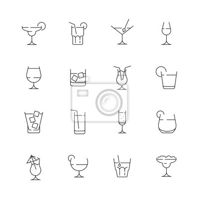 Fototapete Glass for drink icons. Cocktail and alcoholic drink for party liquid martini with ice bar pictogram vector collection. Illustration of alcohol drink, martini beverage and whiskey